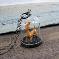 Deer Necklace Glass Dome Pendant Jewelry