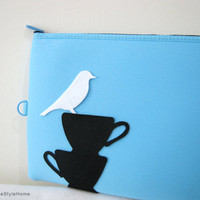 White Bird Resting On Teacups Sky Blue Padded Pouch. Ipad Case Laptop Pouch. Document Zipper Pouch