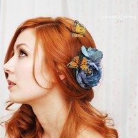 Butterfly hair clip, blue rose fascinator, bridal head piece, hair accessory - Blue Skies