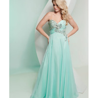 Jasz Couture 2013 Prom - Mint Strapless Rhinestoned Chiffon Gown - Unique Vintage - Cocktail, Pinup, Holiday & Prom Dresses.