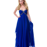 Cascading Royal Blue Chiffon Prom Gown - Unique Vintage - Cocktail, Pinup, Holiday & Prom Dresses.