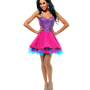 Fuchsia &amp; Blue Strapless Sequin Tulle Tutu Cocktail Dress - Unique Vintage - Cocktail, Pinup, Holiday &amp; Prom Dresses.