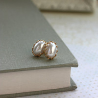 A White Faux Pearl Cabochon Lacy Gold Plated Crown Ear Post Earrings.  Bridesmaid Gifts.  Bridesmaid Earrings. Wedding. Gifts for Wife