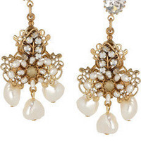 Bijoux Heart Crystal and pearl-embellished drop earrings - 0% Off Now at THE OUTNET