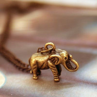 Vintage Antique Brass Elephant Pendant Chain Necklace at Online Jewelry Store Gofavor