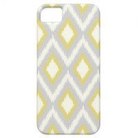 Gray & Yellow Tribal Ikat Chevron iPhone 5 Case from Zazzle.com