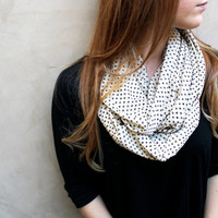 Circle Scarf, Infinity Scarf, Polka Dots, Cream, Black