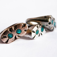 Bronze Artifact Ring w/ Turquoise Inlay, Gold Color, Gold and Turquoise Ring, Casted Ring, Carved Ring