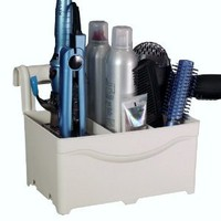 STYLEAWAY - IVORY WHITE; Blow Dryer, Curling Iron, Flat Iron, Hair Styling Products Holder / Hanger