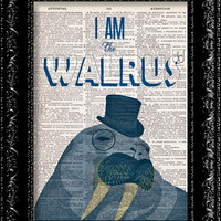 The Beatles I am the Walrus - Vintage Dictionary Print Vintage Book Print Page Art Upcycled Vintage Book Art