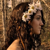 Whimsical Daisy Halo or Wreath Bohemian Wedding Bridal by SewRed