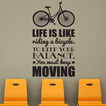 "Wall Decal Quote Text Vinyl Sticker Home Decor Art Mural "" life is like riding ... "" 42.5'' x 22.8"""