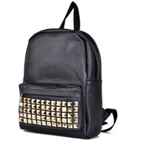 BLACK PU Studded Backpack School Bag Classic Stylish Look for School -JAM Closet: Everything Else