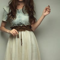 New Arrival Western Fashion Jean and Net Yarn Joint Dress With Belt China Wholesale - Sammydress.com