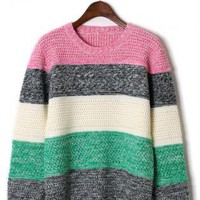 Multi Color Stripe Knit Sweater with Round Neckline