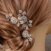 Crystal Baby&#x27;s Breath Bridal Hair Combs Wedding by LizardiBridal