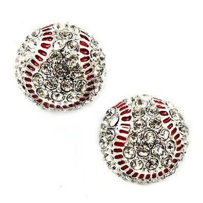 Sport Baseballl Crystal Rhinestone 14mm Drop Stud Fashion Earrings Silver Clear