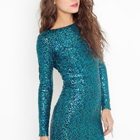 Nikki Sequin Dress - Turquoise in  Clothes at Nasty Gal