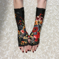 Black  and Red  Poppies fingerless  gloves with black by WearMeUp