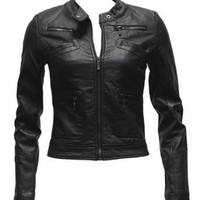 Amazon.com: Ladies Black Synthetic Leather Jacket Button Collar: Clothing