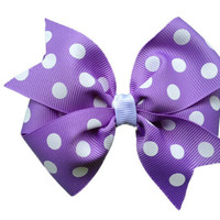 Purple polka dot hair bow