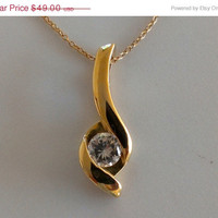 SOLD Modern Sterling Silver with Gold Wash 925 CZ Pendant Necklace