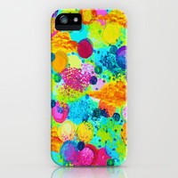 TIME FOR BUBBLY - Colorful Bright Bold Abstract Acrylic Painting, Turquoise Royal Blue Magenta iPhone Case by EbiEmporium | Society6