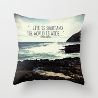 LIFE IS SHORT  Throw Pillow by Tara Yarte  | Society6