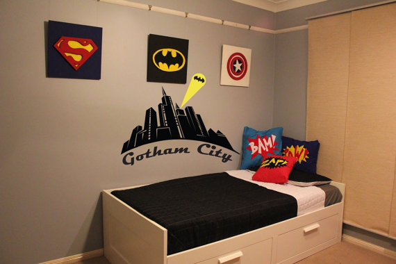 Batman gotham city wall decal boys from otrengraving on for City themed bedroom ideas