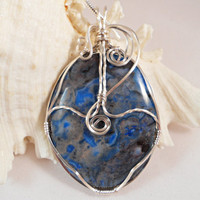 Blue Mexican Agate Wire Wrapped Necklace, Handmade Jewelry
