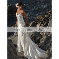 A-line Wedding Gown Pasta Strap with Elegant Beading Cathedral Train