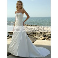 A-line Wedding Gown Strapless with Elegant Pleats and Scattered Beading Chapel Train