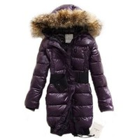 Moncler Pop Star Women Long Down Coat Purple