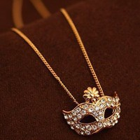 Amazon.com: Zehui Fashion Cute Flower Full Rhinestone Crystal Opera Masquerade Mask Necklace Penda: Jewelry