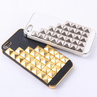 Hot Rivet on Litchi Grain Stick Handmade Hard Case For Iphone 5