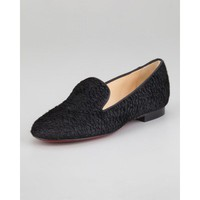 louboutin shoes, christian louboutin ballerina flats on sale $210, Christian Louboutin Sakouette Curly Calf Hair Red Sole Loafer