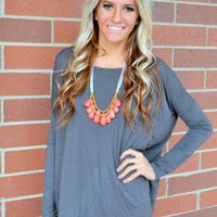 PIKO Dolman Top Charcoal - Modern Vintage Boutique