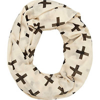 Cream cross print lightweight snood