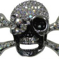 ROCKWORLDEAST - Belt Buckle, Rhinestone Pirate Belt Buckle, Clear Rhinestones