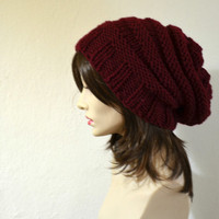 Burgundy Hand Knit Slouchy Hat