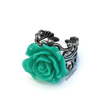 Teal Rose Ring. Adjustable Ring. Antiqued Silver Finish. Cocktail Ring