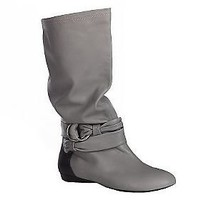As Is B. Makowsky Leather Slouch Boots with  Strap Detail - QVC.com