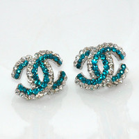 Teal Blue Dazzling Rhinestones Silv.. on Luulla