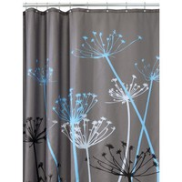 InterDesign Thistle 72-Inch by 72-Inch Shower Curtain, Gray/Blue