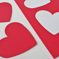 Valentine's Day Paper Heart Tag Red and White Paper Cut Outs Die Cuts Valentine Wedding Shower Heart Decorations Tags Decor Set of 100