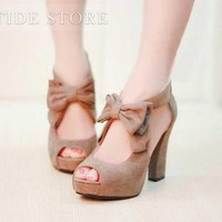 Fashion Platform Chunky Heel Peep-toe Women's Shoes: tidestore.com