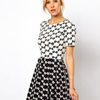 ASOS Skater Dress In Bow Jacquard at asos.com