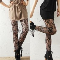 Rose Lace Patterned Pantyhose Tights