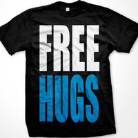 FREE HUGS Mens T-shirt, Big and Bold Funny Statements Tee Shirt, Large, Black