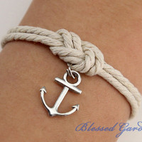 Anchor bracelet, mooring rope bracelet, fabulous navy bracelet, infinity knot, god&#x27;s gift, antique silver,christmas gift